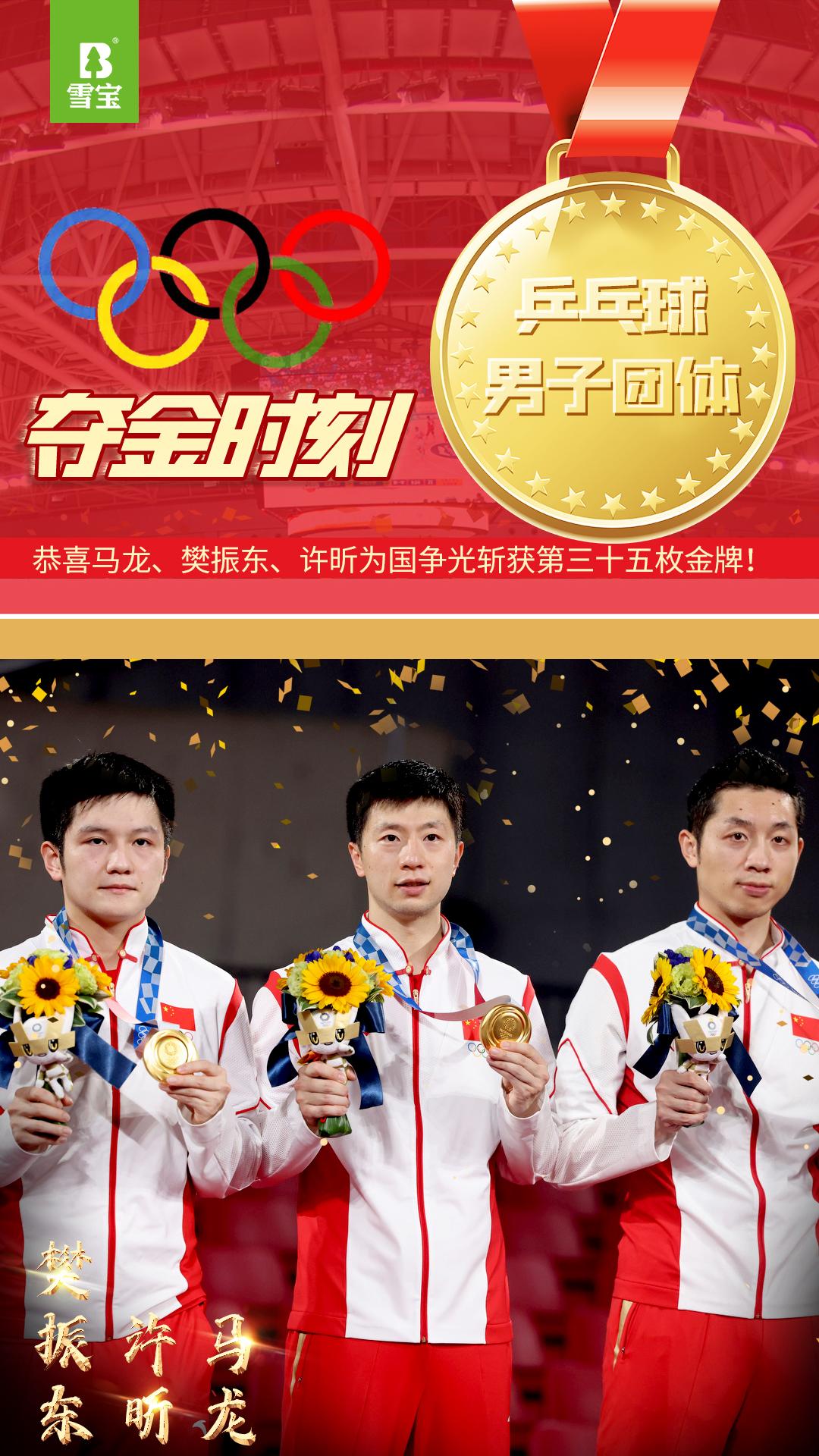 马龙、许昕、樊振东乒乓球男子团体夺冠