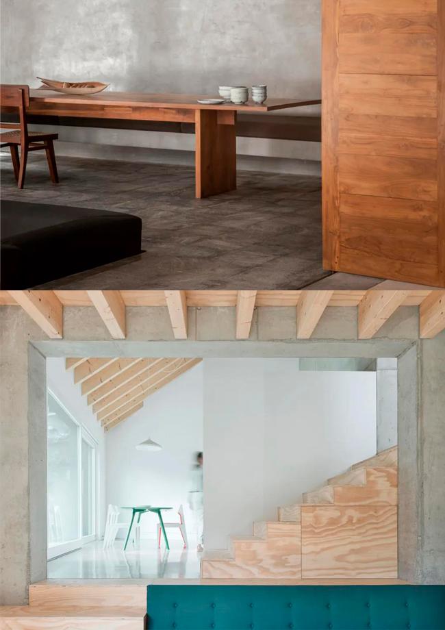 裸露原始的混凝土和木材